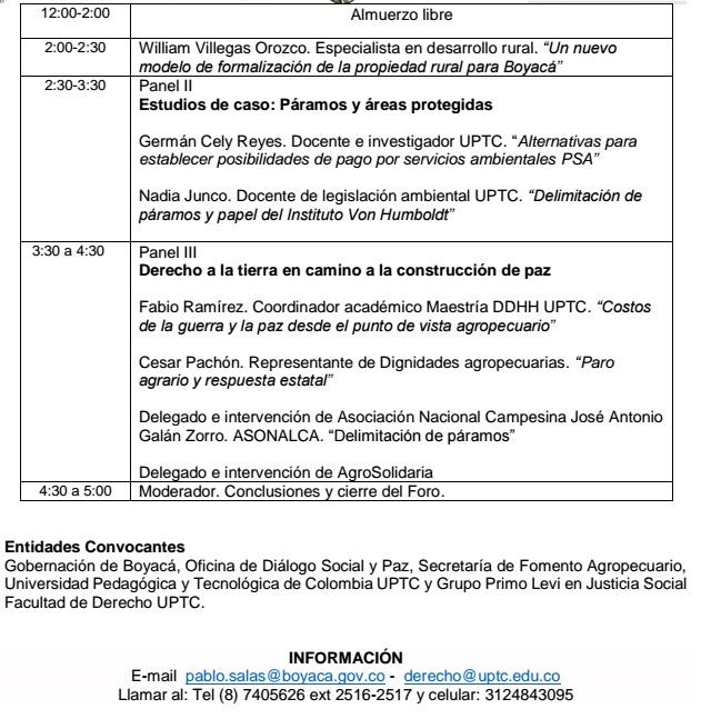 Invitación foro ambiental en Tunja, Boyacá sobre propiedad